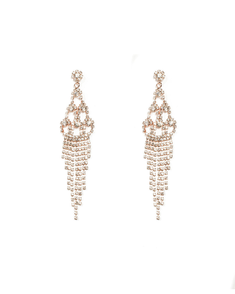Diamante Cup Chain Tiered Rose Gold Statement Earrings