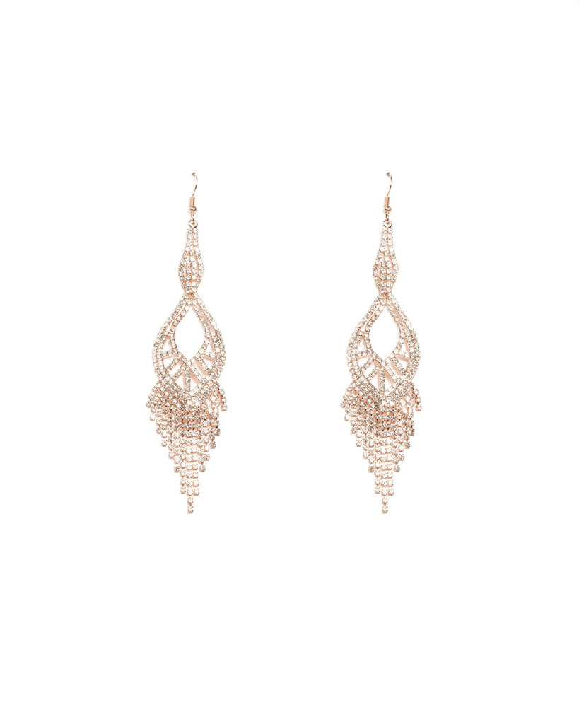 Diamante Cup Chain Long Twist Rose Gold Statement Earrings