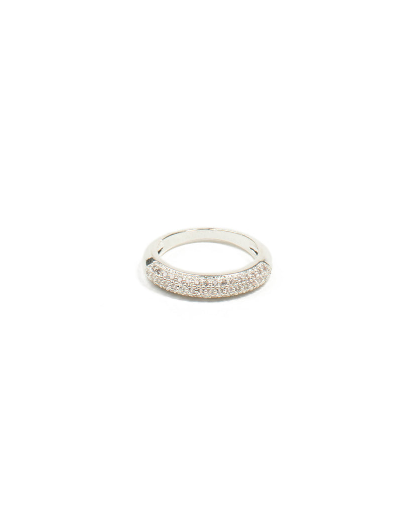 Diamante Pave Stone Silver Band Ring - Large