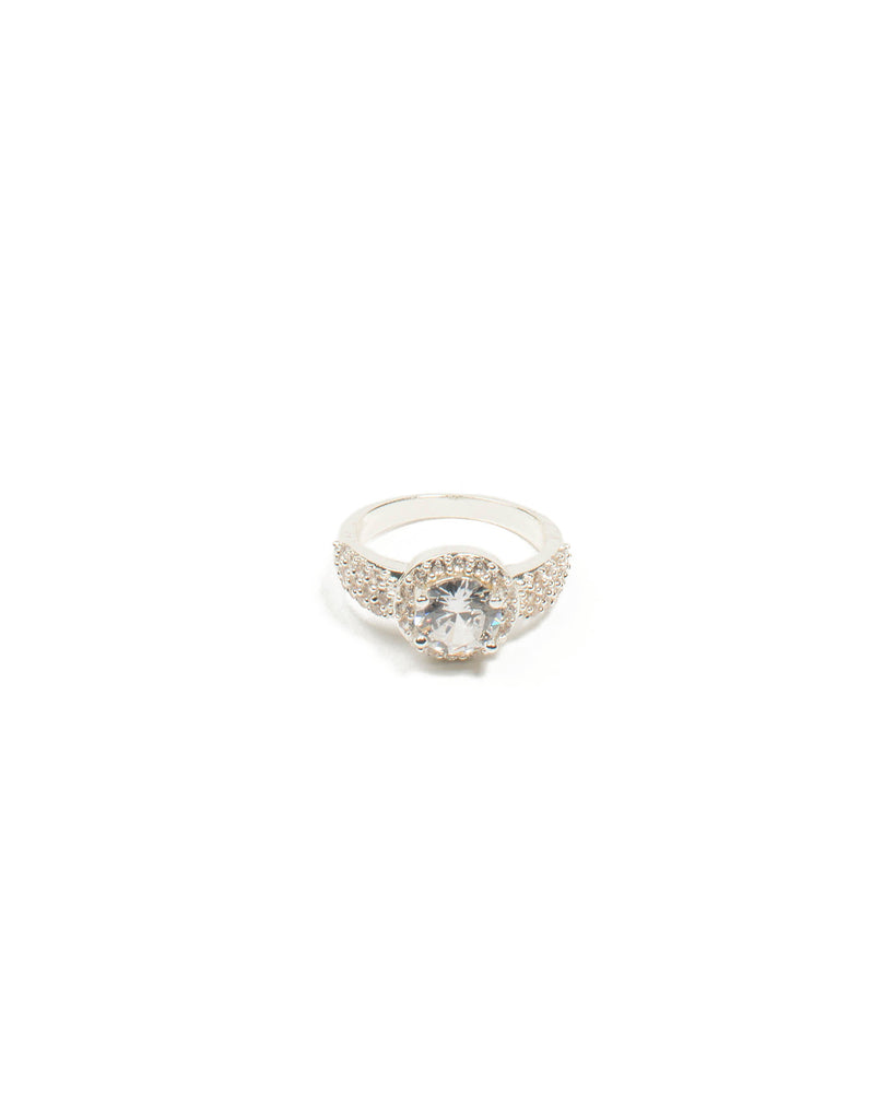 Cubic Zirconia Round Diamante Silver Pave Band Ring - Small