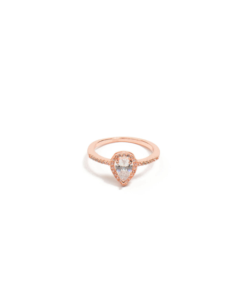 Cubic Zirconia Pear Pave Rose Gold Ring - Medium