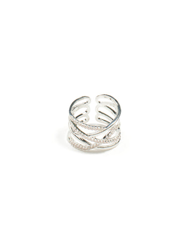 Cubic Zirconia Pave Twist Silver Band Ring - Small