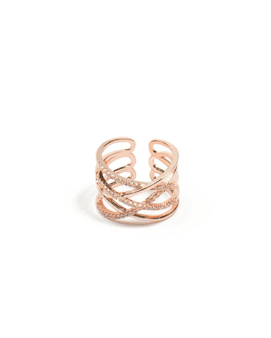 Cubic Zirconia Rose Gold Twist Band Ring - Large