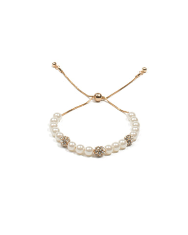 Ivory Pearl Diamante Pave Gold Adjustable Wristwear
