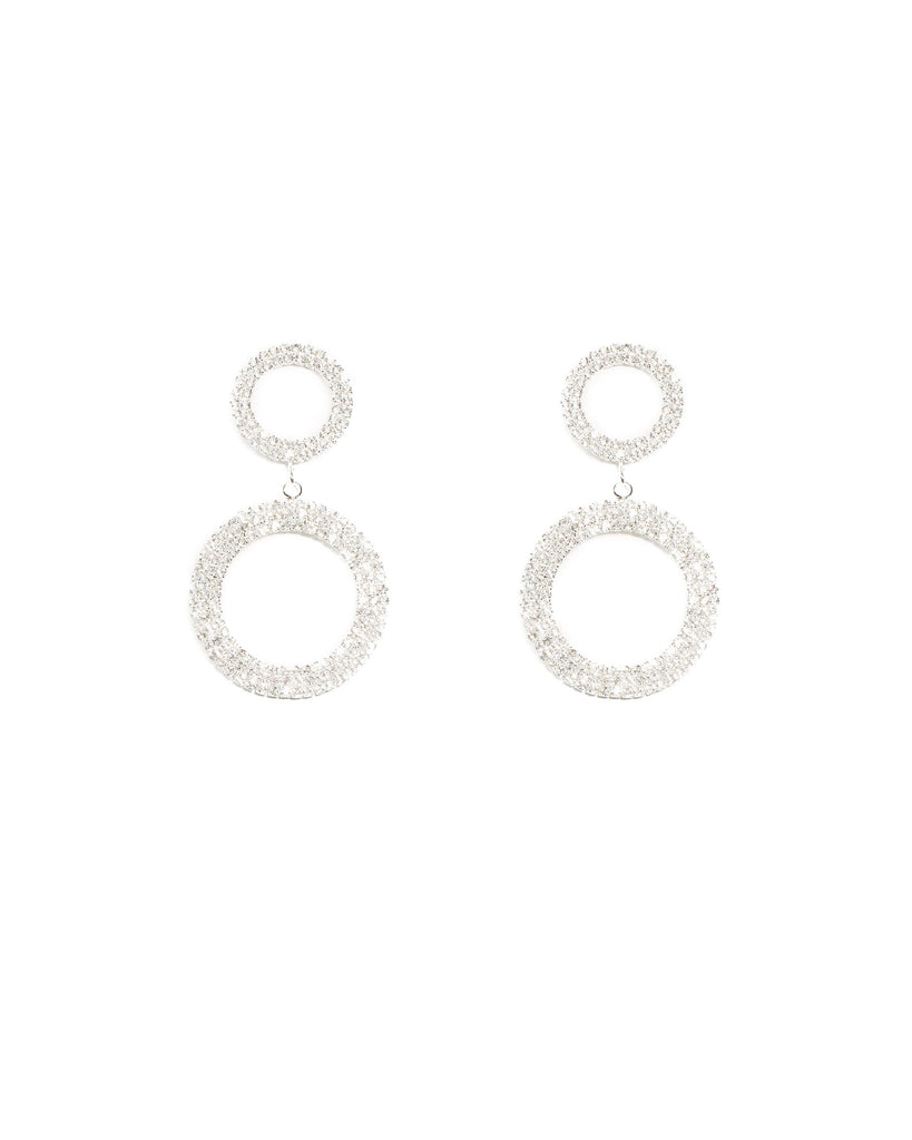 Diamante Cup Chain Round Silver Statement Earrings
