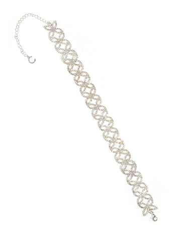 Diamante Cup Chain Pattern Silver Choker Necklace