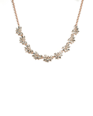 Rose Gold Flower Navette Stone Necklace