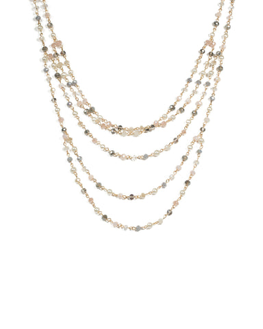 Gold Tone Multi Row Beaded Necklace