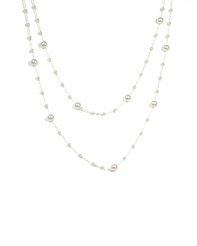 Ivory Pearl Stationed Multi Row Necklace