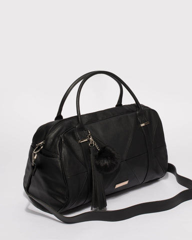 Black Textured Indie Weekender Bag With Gold Hardware