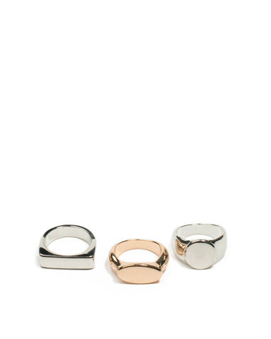 Mixed Tone Plain Metal Signet Ring Pack - Medium