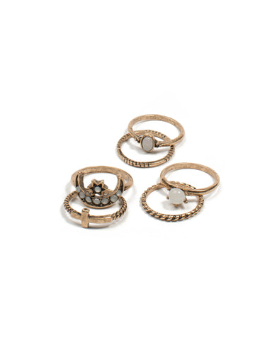 Antique Gold Twist Band Ring Pack - Medium