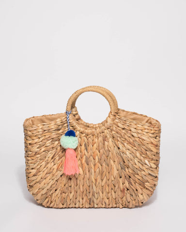 Natural Leon Basket Tote Bag