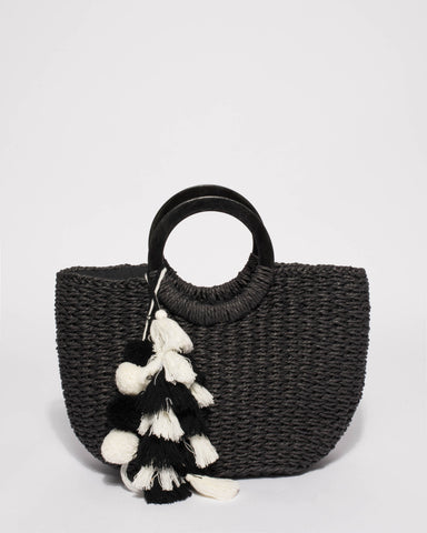 Black Eva Soft Weave Basket Tote Bag