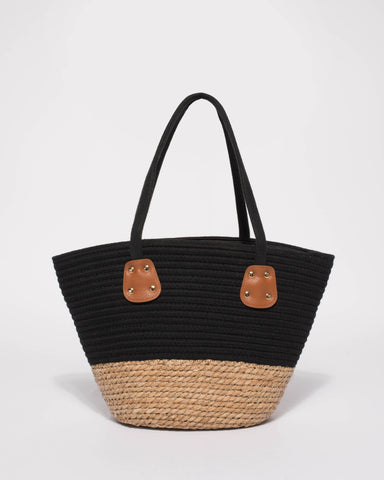 Black And Natural Summer Weave Tote Bag