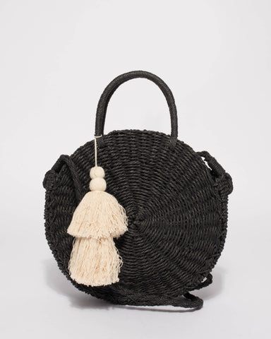 Black Lisa Circle Weave Tote Bag