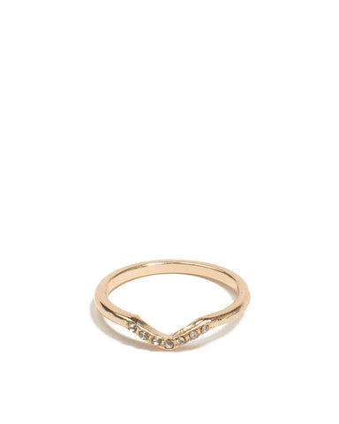 Gold Tone Diamante Pave Stone Ring - Large