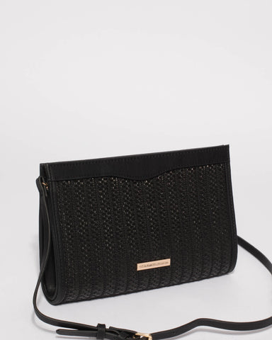 Black Natalia Weave Clutch Bag