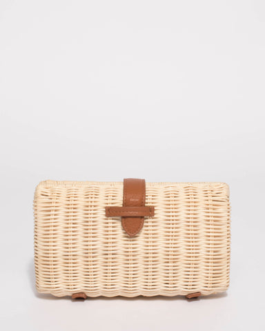 Natural Kiki Weave Small Clutch Bag