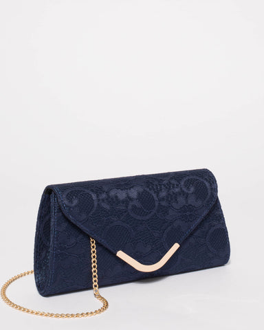 Navy Lace Kelsey Evening Clutch Bag