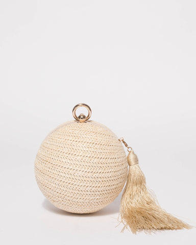 Natural Miley Tassel Clutch Bag
