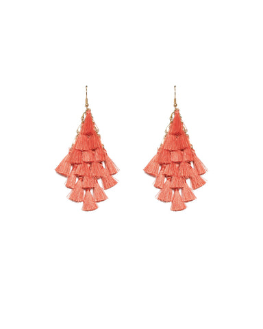 Coral Gold Tone Multi Layered Tassel Earrings