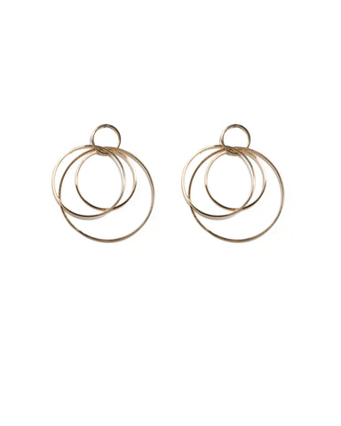 Gold Tone Multi Drop Ring Statement Earrings
