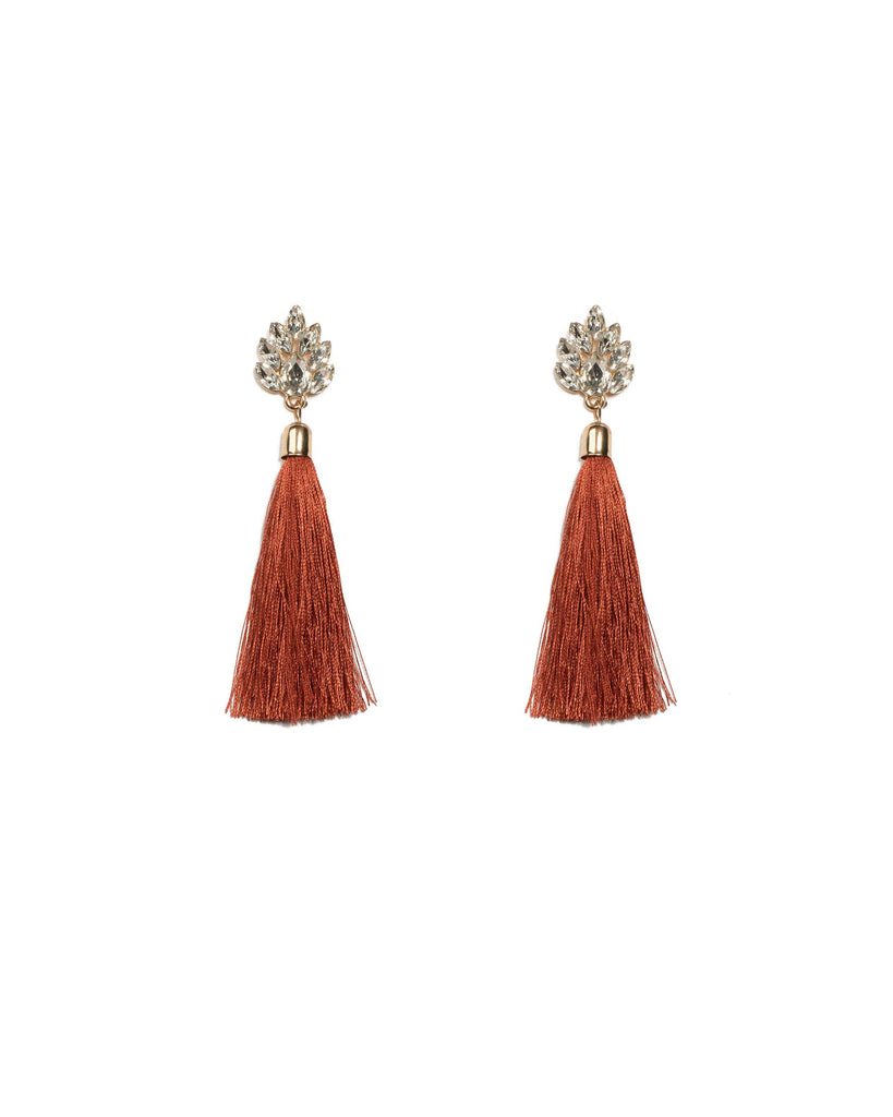 Brown Gold Tone Navette Stone Tassel Drop Earrings