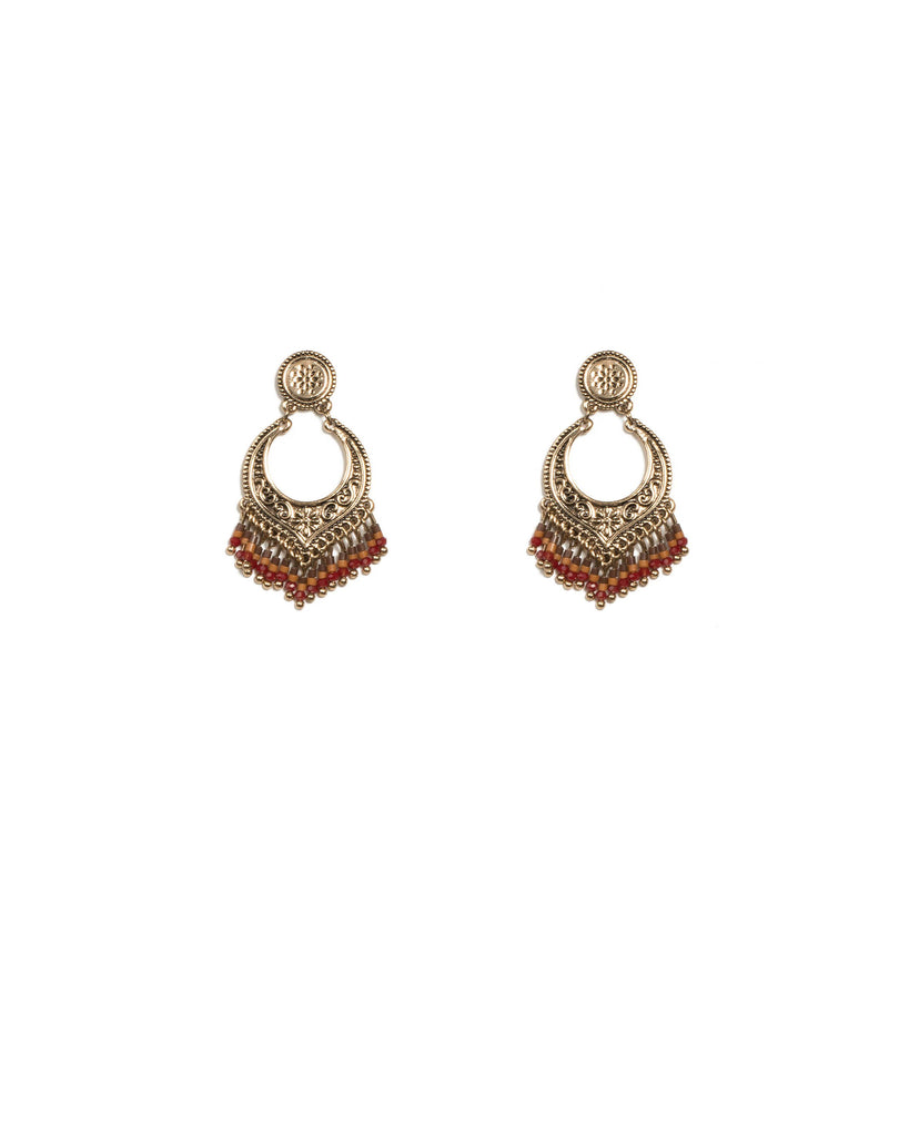 Brown Antique Gold Tone Beaded Aztec Drop Earrings
