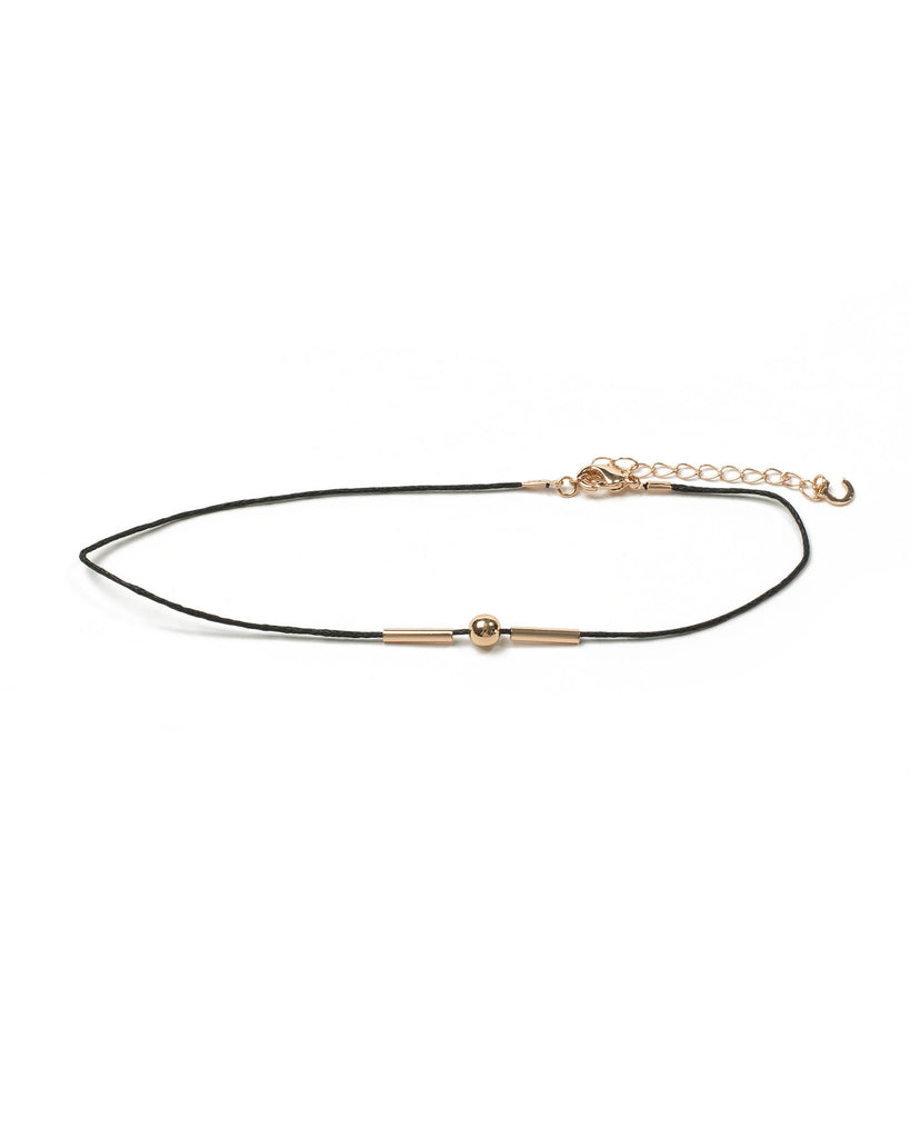 Black Gold Tone Metal Fine Cord Choker Necklace