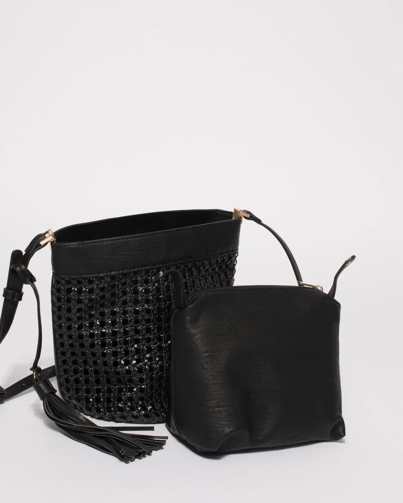 Black Weave Billie Small Bag