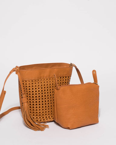 Tan Weave Billie Small Bag