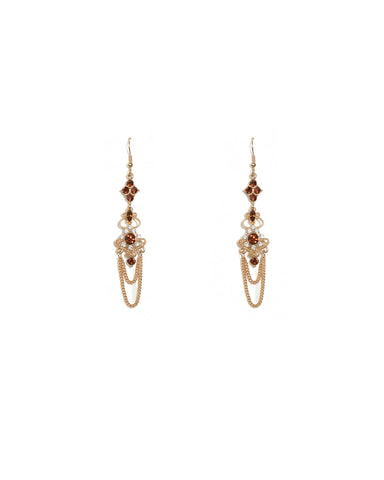 Red Gold Tone Stone Hanging Chain Drop Earrings