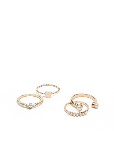 Gold Tone Diamante And Pearl Ring Pack - Medium