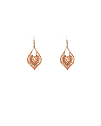 Red Gold Tone Mini Filigree Earrings