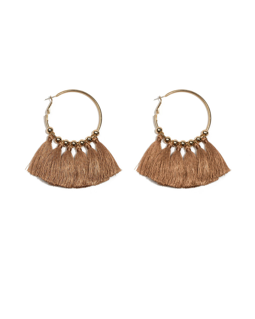 Brown Gold Tone Multi Tassel Hoop Earrings
