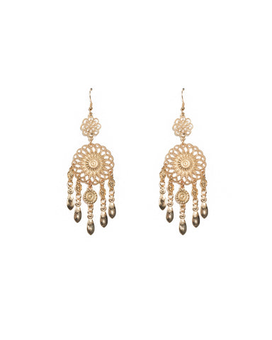 Gold Tone Drop Disk Filigree Statement Earrings