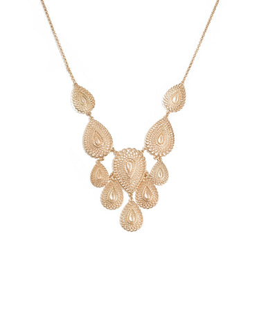 Gold Tone Filigree Teardrop Statement Necklace