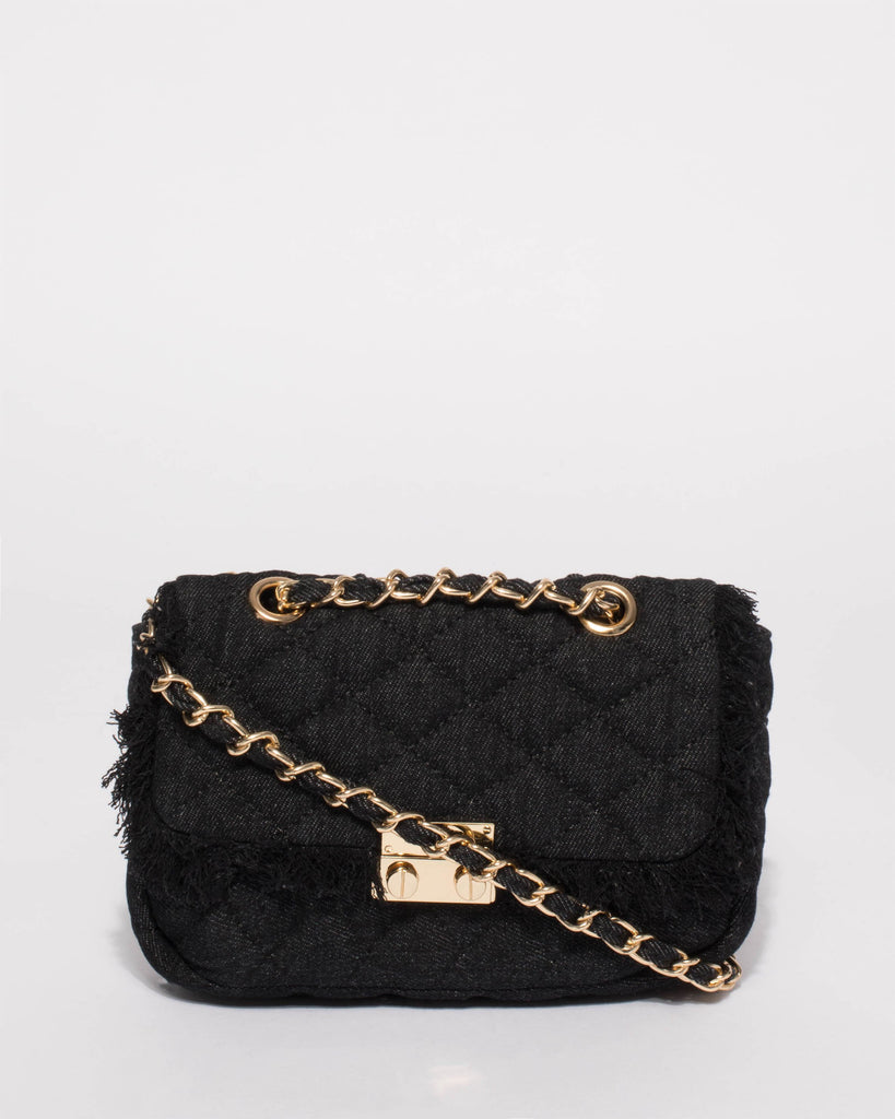 Black Denim Sofia Quilt Mini Crossbody Bag