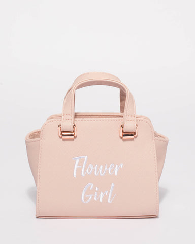 Pink Flower Girl Mini Tote Bag