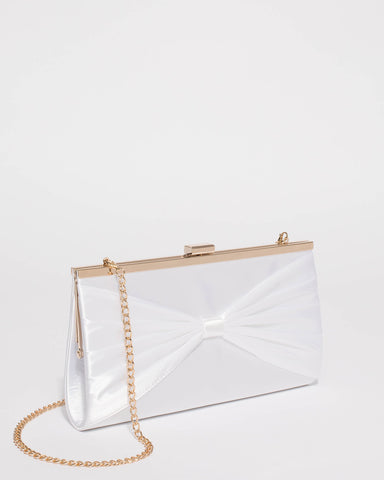 White Bow Clip Clutch Bag