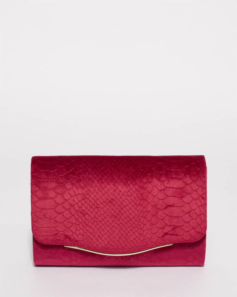 Burgundy Adele Evening Clutch Bag