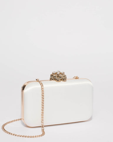 White Penelope Clasp Clutch Bag