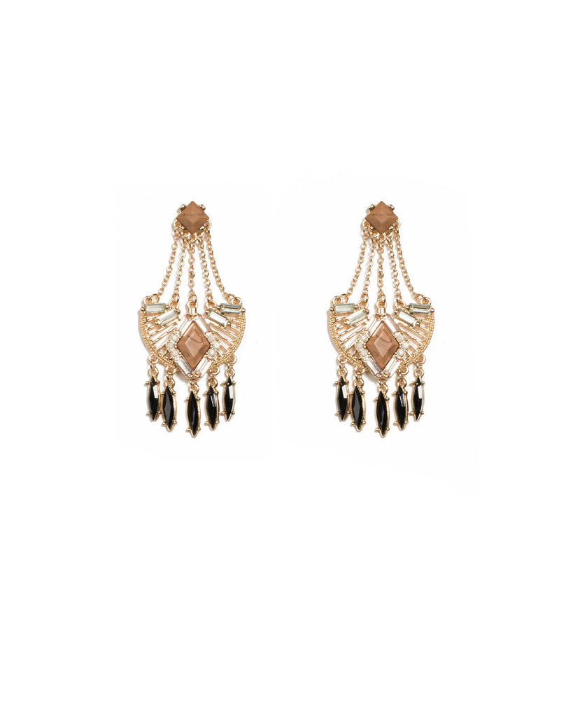 Brown Gold Tone Chain Aztec Statement Drop Earrings