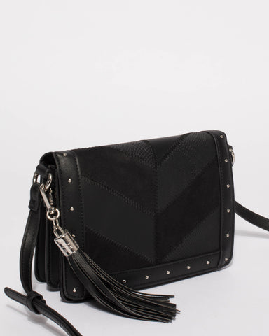 Black Melanie Panel Crossbody Bag