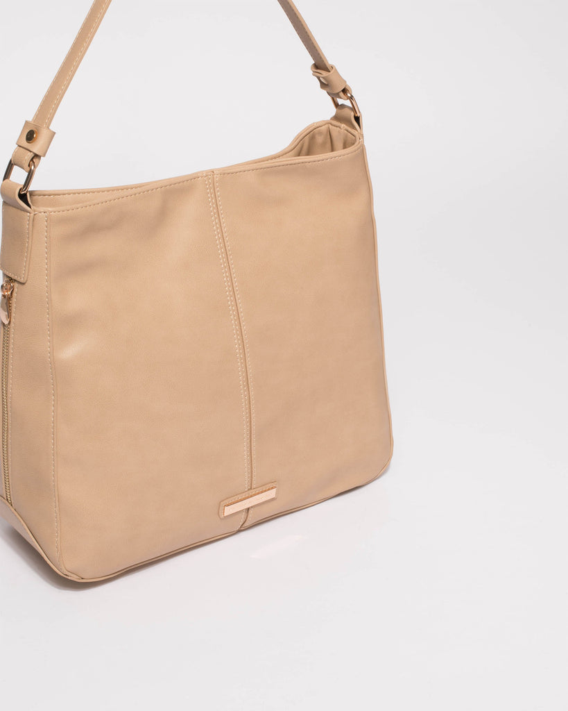 Beige Lou Slouch Tote Bag