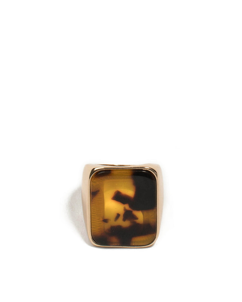 Brown Gold Tone Xl Stone Cocktail Ring - Large