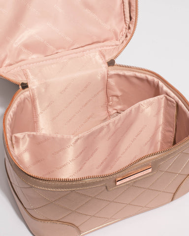 Rose Gold Quilted Saffiano Cosmetic Case Pack