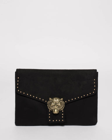 Black Suedette Tiger Face Stud Clutch Bag
