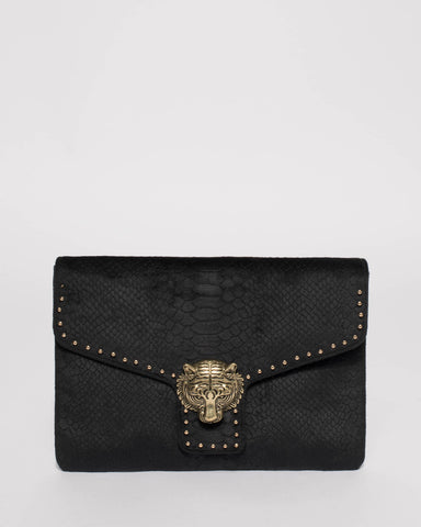 Black Velvet Tiger Face Stud Clutch Bag
